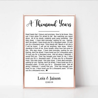 Personalised First Dance Wedding Song Lyrics Print Wall Art Gift Anniversary