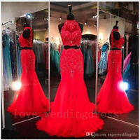 2 Piece Crystal Evening Prom Gown Mermaid Wedding Graduation Party Pageant Dress