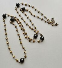 Brown & French Jet crystal glass bead necklace .. long bronze sparkle jewellery