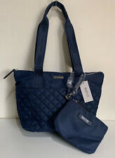 NEW! KENNETH COLE REACTION EMILY FLEET NAVY BLUE QUILTED TOTE BAG W/WRISTLET $89