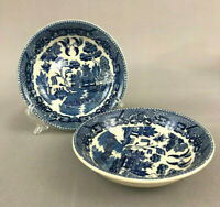 2 vintage small blue willow bowls 1930s Japan