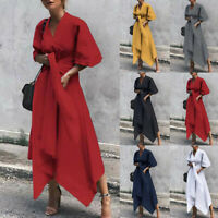 Ladies Womens Casual Wrap Plain Asymmetrical V-Neck Long Midi Dress Plus Size #