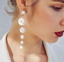 1Pair Fashion Elegant Big Pearl Long Tassel Earrings Ear Stud Women's Jewelry