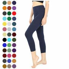 Womens Capri Leggings 3/4 Length Basic Cotton Span Stretch Active High Waist