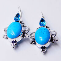 Arizona Turquoise 925 Sterling Silver Plated Handmade Jewelry Women Earring 9 Gm