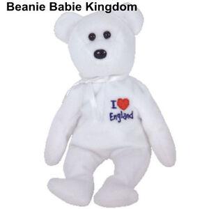 "TY BEANIE BABIE * I LOVE ENGLAND * THE WHITE TEDDY BEAR - UK EXCLUSIVE 7"""
