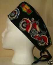 SURGICAL SCRUB HAT SKULL CAP MADE W MOTORCYCLES BIKES FABRIC MEDICAL NURSE CHEMO
