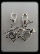 LOT 2 CHARMS BRELOQUE A FERMOIR METAL ARGENTE COEUR STRASS - BIJOUX PERLES AD9