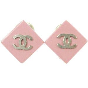 CHANEL CC Logos Rhombus Motif Earrings Pink Silver Clip-On 04P Vintage 00855
