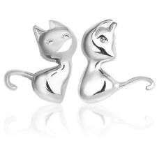 Women Lady Girls Cute Cat 925 Sterling Silver Ear Stud Earrings Jewellery Gift