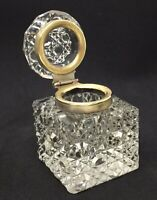Antique Faceted Cut Crystal Inkwell with Brass Collar