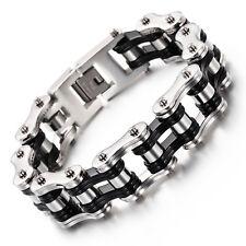 Motorcycle Chain Bracelet Large 8.66'' Black silver Biker Stainless Steel Men's