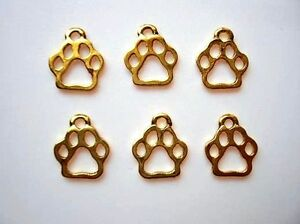 24 Dog Paw Golden Plated Charm/pandent/doggie/jewelry/tag/Craft/Bow K16-Gold