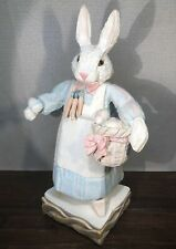 """House Of Hatten Large 14"""" Bunny Rabbit w/ Easter Basket, Eggs & Carrot Necklace"""