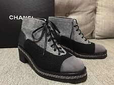 "New CHANEL BLACK GRAY SILVER CHAIN LACE UP ""CC"" MOTORCYCLE BIKER ANKLE BOOTS 41"
