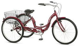 """Adult Tricycle Beach Cruiser 26"""" 3 Wheels Storage Basket Senior Trike Bicycle"""