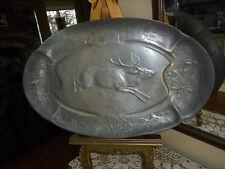 Antique Kayserzinn Pewter Serving Tray/ Platter~ Hunt Chase Scene~Deer Buck Stag