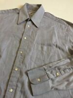 Mani Giorgio Armani Mens 15.5 32/33 light gray L/S 100% cotton dress shirt