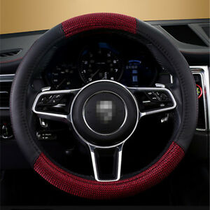 1x Universal Car Steering Wheel Cover Red Braided Linen + Black PU Leather 38cm