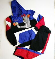 FTW 100%AUTHENTIC men 2p set HOODIE & PANTS size LARGE Tom & Jerry black/blue