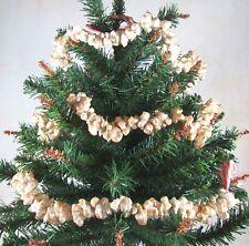 Primitive Realistic Popcorn Christmas Tree Garland 9' Long Faux Artificial