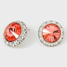 Genuine Austrian Crystal Rhinestone 20mm Rivoli Dance Earrings Medium 1 Inch