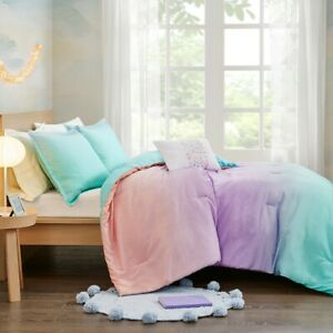 GLIMMER & SPARKLES OMBRE 3pc Twin DUVET SET : GIRLS PINK PURPLE GLITTER