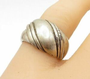 KABANA 925 Silver - Vintage Slanted Etched Pattern Dome Band Ring Sz 8- R14595