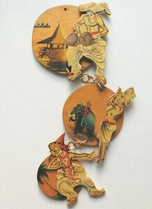 Vintage wooden wall hanging Sri Lanka souvenir musician temple elephant dancer