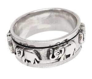 8mm Elephant Silver Ring Spinning/spinner/Spin Ring for men women Elephant ring