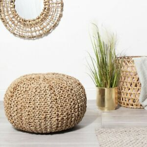 Rope Jute Pouffe Footstool Footrest Living Room Home Decor Brown