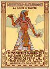 "Vintage Illustrated Travel Poster CANVAS PRINT Egypt train 24""X18"""