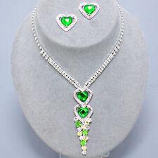 Green diamante necklace set prom rhinestone prom party bridal heart studs 428