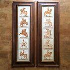 Very Rare Pair of Piero Fornasetti Framed Knights Tile Panels, 10 Tiles 1950s