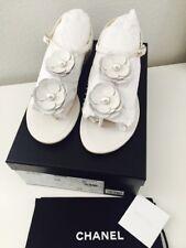 c2707d8813b BNIB Auth Chanel 17P Flower Camellia White Calfskin Leather Thong Sandals  Sz 8