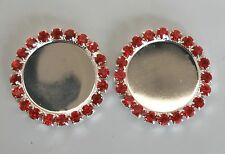 1 Pair Red Ring Diamonte/Rhinestone Button Centres - Diy Browbands / Pins