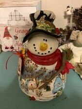 Brand New Blue Sky Clayworks Christmas Snowman Cookie Jar~L@K!