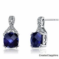 1.0Ct Blue Sapphire Stud Earrings Screw Back 14k White Gold Plated