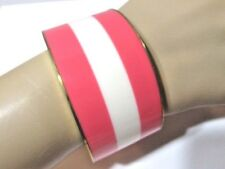 PINK WHITE STRIPED BANGLE BRACELET PLASTIC METAL TOP BOTTOM RIM CONTEMPORARY