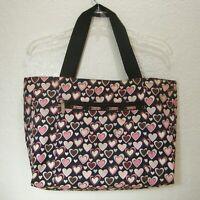 LeSportSac LARGE Weekender BAG Travel Tote HEARTS Pink Black Nylon Zipper
