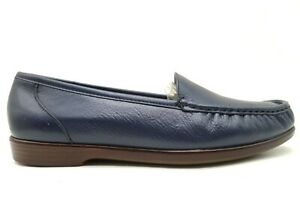 SAS Navy Blue Leather Moc Toe Slip On Comfort Loafers Shoes Women's 11 M