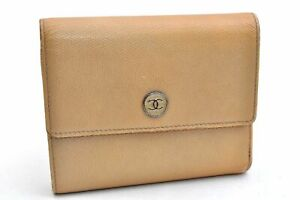 Authentic CHANEL Caviar Skin CoCo Button Bifold Wallet Beige 98975