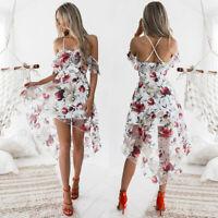 Women Ladies Spaghetti Strap Boho Floral Print Beach Summer Sundrss Maxi Dress