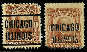 "Sc #307 ""2 x Chicago ILLINOIS"" Precancel SON 10 Cent Regular 1901-03 US 68D75"