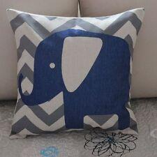 Elephant Grey Zig Zag Cotton Linen Cushion Cover Throw Pillow Home Decor B375