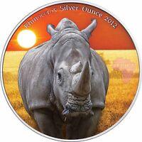 Kongo 1000 Francs 2012 Nashorn antique finish Rhinoceros Silver Ounce in Farbe