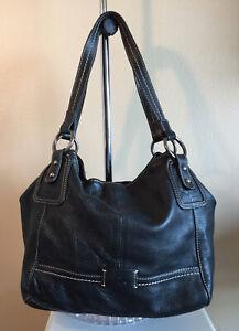 The Sak Purse Handbag Shoulder Bag Tote Black Leather Large