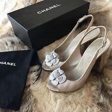 CHANEL Silver Camelia Gold Heel Slingback Shoes EUR 40,5 UK 7