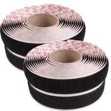 2x BLACK Self Adhesive HOOK & LOOP TAPE ROLLS Sticky Backing Strip VELCRO Brand
