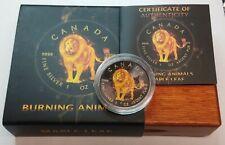 2018 Canada Burning Animals Lion 1 Oz. .9999 Silver Black Ruthenium Maple Leaf